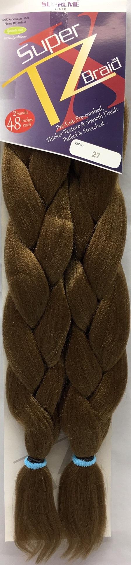 SUPRÊME HAIR - PAQ. DE 2 SUPER X TZ BRAID (CHEVEUX TRESSÉS) 48'' INCHES, 100% KANEKALON MODACRYLIC FIBER, SYNTHETIC HAIR, COLOR 27