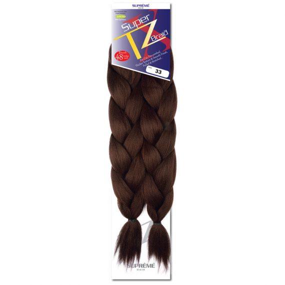 SUPRÊME HAIR - PAQ. DE 2 SUPER X TZ BRAID (CHEVEUX TRESSÉS) 48'' INCHES, 100% KANEKALON MODACRYLIC FIBER, SYNTHETIC HAIR, COLOR 33