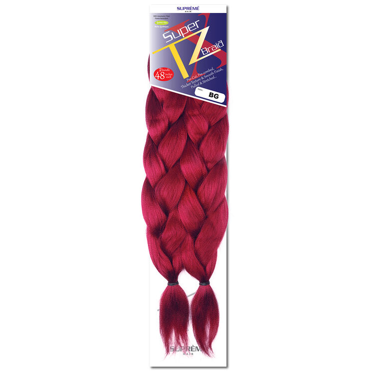 SUPRÊME HAIR - PAQ. DE 2 SUPER X TZ BRAID (CHEVEUX TRESSÉS) 48'' INCHES, 100% KANEKALON MODACRYLIC FIBER, SYNTHETIC HAIR, COLOR BG