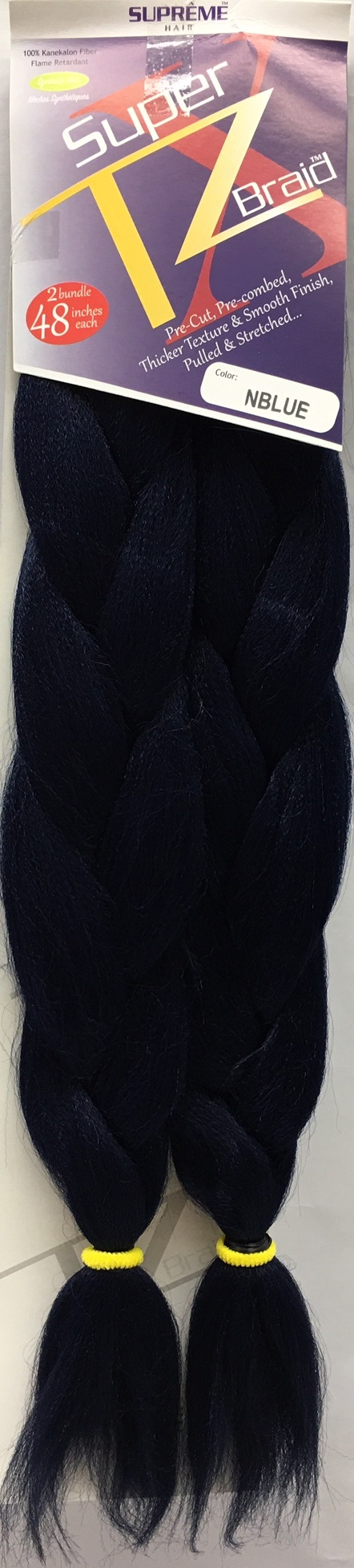 SUPRÊME HAIR - PAQ. DE 2 SUPER X TZ BRAID (CHEVEUX TRESSÉS) 48'' INCHES, 100% KANEKALON MODACRYLIC FIBER, SYNTHETIC HAIR, COLOR NBLUE