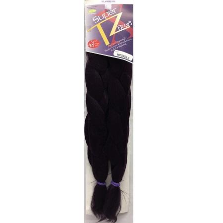SUPRÊME HAIR - PAQ. DE 2 SUPER X TZ BRAID (CHEVEUX TRESSÉS) 48'' INCHES, 100% KANEKALON MODACRYLIC FIBER, SYNTHETIC HAIR, COLOR NPURPLE