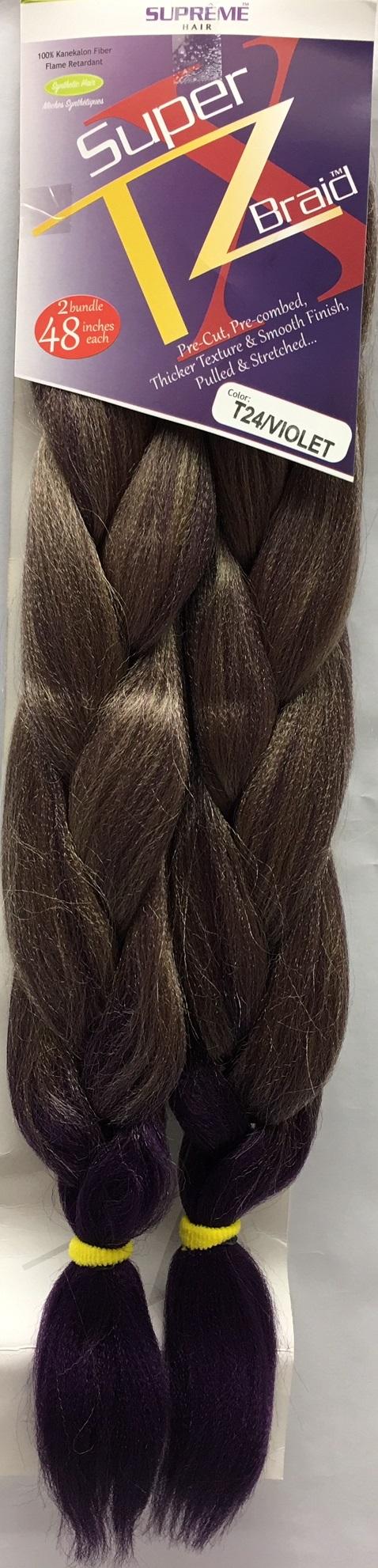 SUPRÊME HAIR - PAQ. DE 2 SUPER X TZ BRAID (CHEVEUX TRESSÉS) 48'' INCHES, 100% KANEKALON MODACRYLIC FIBER, SYNTHETIC HAIR, COLOR T24/VIOLET