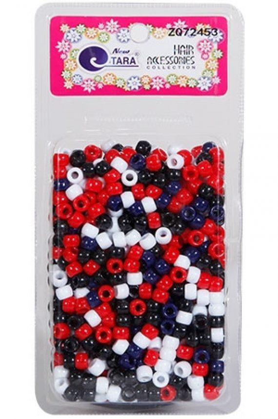 NEW TARA - BEAD (PERLES) BLACK/RED/WHITE/NAVY, LARGE PACK, HAIR ACCESSORIES COLLECTION, ITEM NO. ZQ72453