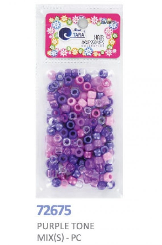 NEW TARA - BEADS (PERLES) PURPLE TONE SMALL MIX, HAIR ACCESSORIES COLLECTION, ITEM NO. ZQ72675