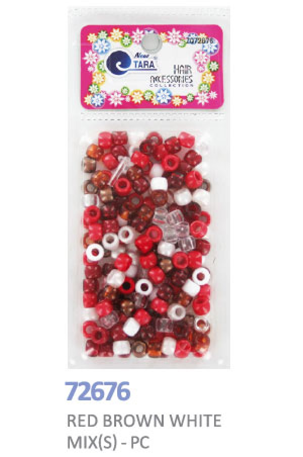 NEW TARA - BEADS (PERLES) RED/BROWN/WHITE TONE SMALL MIX, HAIR ACCESSORIES COLLECTION, ITEM NO. ZQ72676