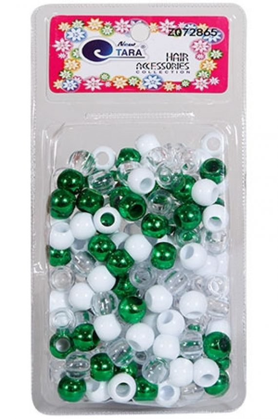 NEW TARA - BEAD (PERLES) LIGHT GREEN/WHITE/CLEAR (L), LARGE PACK, HAIR ACCESSORIES COLLECTION, ITEM NO. ZQ72865