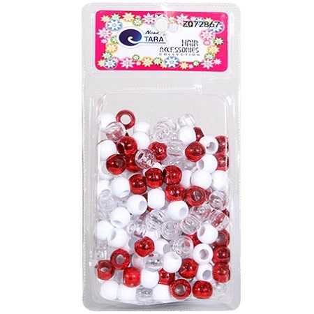 NEW TARA - BEAD (PERLES) RED/WHITE/CLEAR (L), LARGE PACK, HAIR ACCESSORIES COLLECTION, ITEM NO. ZQ72867