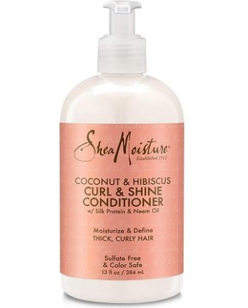 SHEA MOISTURE - COCONUT & HIBISCUS CURL & SHINE CONDITIONER WITH SILK PROTEIN & NEEM OIL, 13 FL.OZ / 384 ML