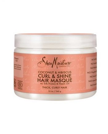 SHEA MOISTURE - COCONUT & HIBISCUS CURL & SHINE HAIR MASQUE WITH SILK PROTEIN & NEEM OIL, 12 OZ/340 G
