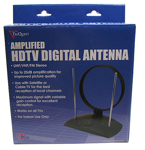 TRIQUEST - ANTENNE AMPLIFIED HDTV DIGITAL ANTENNA, UP TO 25dB AMPLIFICATION, UHF/VHF/FM STEREO. MODEL: 8040